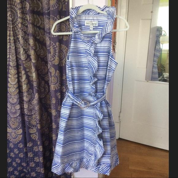 d71ac69a52d0 Sara Campbell Dresses | Super Saleblue And White Stripped Wrap Dress ...